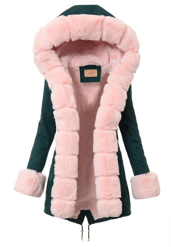 Kurtka Zielona Z Jasno Różowym Futerkiem B502